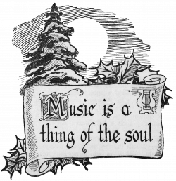 Christmas Clip Art Scroll with Winter Scene - Music is a Thing of ...