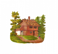 Antique Images: Free House Clip Art: Graphic of Log Cabin in Forest ...