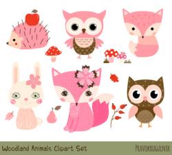 Pink Woodland Animal Clipart, Cute Forest Animal Clip Art, Owl Fox Hedgehog