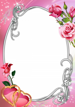Pink Transparent Frame with Roses and Hearts | Photo Frames ...