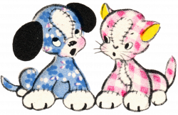 Free Vintage Clip Art - Adorable Puppy and Kitty Duo - Free Pretty ...