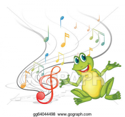 Vector Clipart - A frog with musical notes. Vector ...