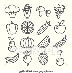 EPS Vector - Fruits and vegetables line icons. Stock Clipart ...