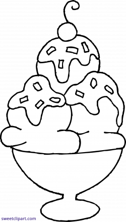 Ice Cream Sundae Coloring Page Clipart - Sweet Clip Art