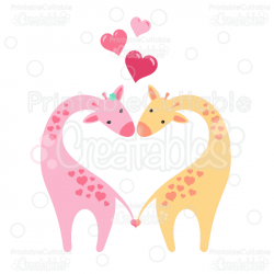 Giraffes in Love Clipart and SVG Cut Files