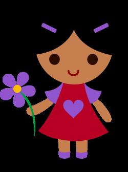 My clip art of a little girl holding a purple flower | Sweet Clip ...