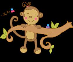 Girl Monkey Swinging Clipart