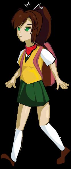 Clipart - School Girl Walking