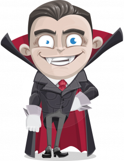 A vampire kid cartoon character, formally dressed in a tailcoat suit ...