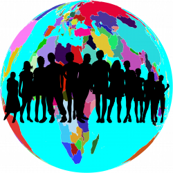 Clipart - Colorful World Globe Human Family