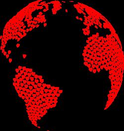 Clipart - Hearts Globe