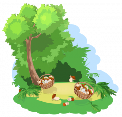 Decoration with Tree and Baskets of Mushrooms PNG Image | Gallery ...
