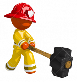 Orange Man Firefighter Hitting with Sledge Hammer - Photos by Canva