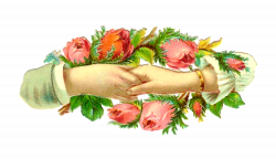 Antique Images: Vintage Victorian Die Cut: Holding Hands with Red ...