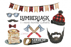 Lumberjack, Beard, Saw, Pancake, Mustache, Glasses, Hat, Red, Black, Plaid,  Axe, Birthday, Party, Christmas, Watercolor, Clipart, Graphics