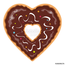 Heart shaped and chocolate covered isolated donut clip art ...