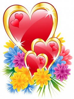 Valentine Hearts with Flowers PNG Clipart Picture | Hearts !! Hearts ...