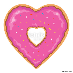 Heart shaped and isolated pink donut clip art with colorful ...