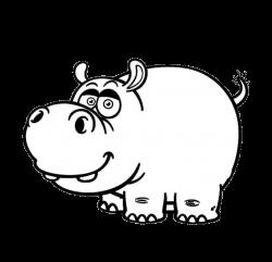 Hippopotamus Cartoon Drawing Black and white Clip art - Meng stay ...