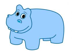 Blue hippo free clip art image #37286