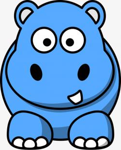 Blue Hippo Clipart
