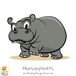 Cute Grey Hippo Vector illustration Digital Clip Art - SVG - PNG File,  Vector EPS Illustration for Personal and Commercial Use