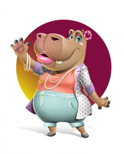 Hippo images: a pretty girl hippo vector cartoon character ...