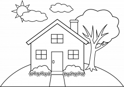 Line Art of a Little Hill House Free Clip Art, simple line drawing ...