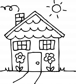Sunny Day House Coloring Page - Free Clip Art