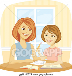 Vector Clipart - Homework time. Vector Illustration ...