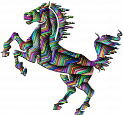 Clipart - Prismatic Horse Silhouette Abstract Line Art With Background
