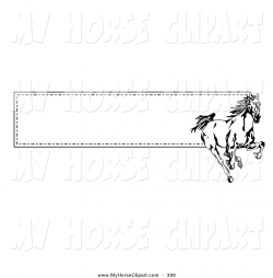 Clip Art of a Running Wild Black and White Horse over a ...