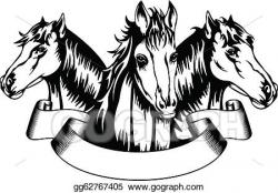 Vector Clipart - Heads horses. Vector Illustration ...