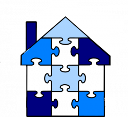 Puzzle Pieces House Clip Art at Clker.com - vector clip art online ...