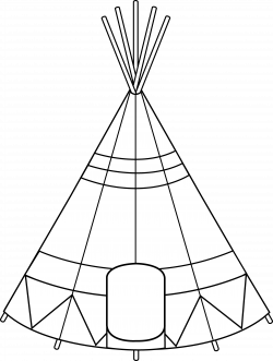 Teepee Tent Coloring Page - Free Clip Art
