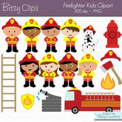 Firefighter Kids Digital Art Set Clipart Commercial Use Clip Art INSTANT  Download Fireman Clipart Firemen Clipart Girl Firefighters