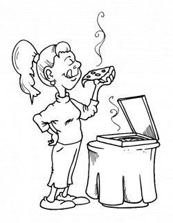 girl eating pizza coloring pages Coloring4free - Coloring4Free.com
