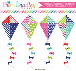 80% OFF SALE Kite Clipart Polka Dots Chevron & Striped Kite ...