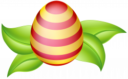Easter Egg with Spring Leaves PNG Clip Art Image | Gallery ...