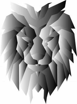 Clipart - Grayscale Polygonal Lion Face