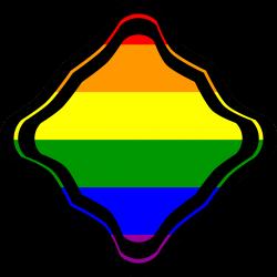 Clipart - Rainbow Flag Diagonal Square Squiggled Frame