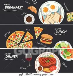 Vector Art - Set of breakfast lunch and dinner web banner ...