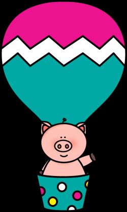 Pig in a Hot Air Balloon Clip Art - Pig in a Hot Air Balloon Image
