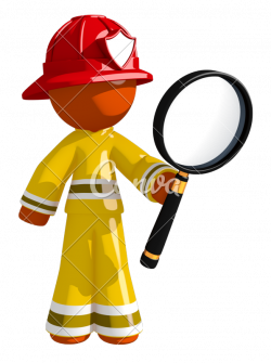 Orange Man Firefighter Looking through Magnifying Glass - Photos by ...