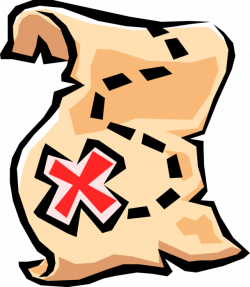 Treasure Map with X Marking Spot - Vector Image