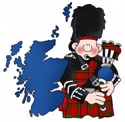Britain Clip Art by Phillip Martin, Map of Scotland with Bagpipes