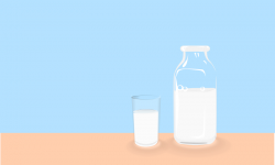 Clipart - Bottle of milk and glass of milk on table