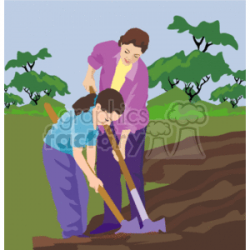 Mother and daughter gardening clipart. Royalty-free clipart # 157560