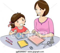 Clip Art Vector - Mom kid book making. Stock EPS gg83266847 ...