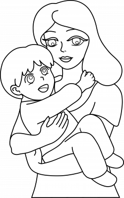 Mother and Child Line Art - Free Clip Art